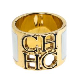 Ch Carolina Herrera Logo White Enamel Gold Tone Wide Band Ring 318151