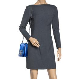 Dolce&Gabbana Metallic Blue Quiltted Leather DG Girls Crystal Embellished Shoulder Bag 316278