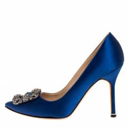 Manolo Blahnik Blue Satin Hangisi Embellished Pointed Toe Pumps Size 36.5 316297