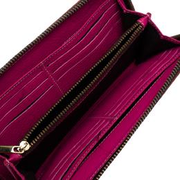 Carolina Herrera Orange Monogram Leather Zip Around Wallet 318852