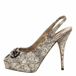 Oscar De La Renta White/Black Snake Print Leather Slingback Platform Peep Toe Sandals Size 37 318528