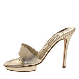 Gina Metallic Gold Leather Slide Sandals Size 37 316919