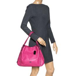 Coach Fuchsia Leather Edie Studded Shoulder Bag 317087