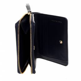 Tory Burch Navy Blue Leather Amanda Zip Compact Wallet 317663