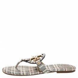 Tory Burch White/Blue Striped Snakeskin Embossed Miller Flat Thong Sandals Size 39.5 317063