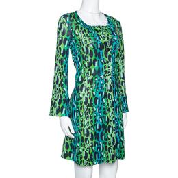 Diane Von Furstenberg Blue & Green Animal Print Silk Jersey Gaby Dress S 316047