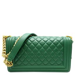 Chanel Green Lambskin Leather Boy Shoulder Bag 317989