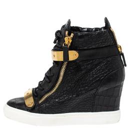 Giuseppe Zanotti Design Black Croc Embossed Leather Lorenz Wedge Sneakers Size 38 316901