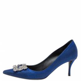 Roger Vivier Blue Glitter Fabric Flower Strass Crystal Embellished Pointed Toe Pumps Size 40 316900