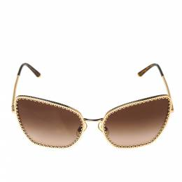 Dolce&Gabbana Gold Tone/ Brown Gradient DG 2212 Cat Eye Sunglasses 317690