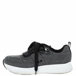 Prada Sport Grey Shimmery Knit Fabric Low Top Sneakers Size 38.5 317057