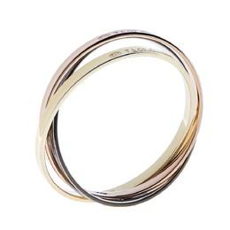 Tiffany & Co. 1837 Tricolor Interlocking Circles 18K Yellow & Rose Gold Silver Bangle Bracelet 317505