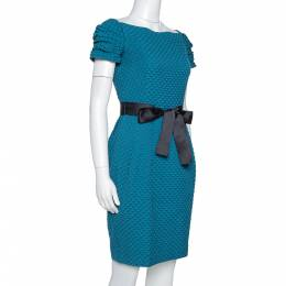 Ch Carolina Herrera Teal Houndstooth Pattern Embossed Sheath Dress S 317180