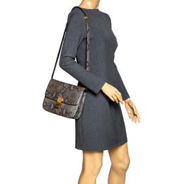 Celine Grey Python Medium Classic Box Shoulder Bag 317869