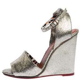 Charlotte Olympia Metallic Gold Crackled Leather Mischievous Wedge Sandals Size 40 317863