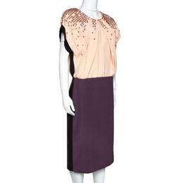 Fendi Colorblock Silk Crepe Embellished Bodice Midi Dress L 317740