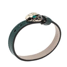 Bvlgari Serpenti Forever Emerald Green Leather Bracelet 316930