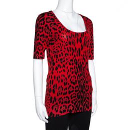 Dolce&Gabbana Red Leopard Pattern Wool Knit Jumper M 317680