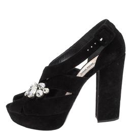 Miu Miu Black Suede Crystal Embellished Platform Sandals Size 39.5 317043