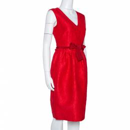 Ch Carolina Herrera Red Floral Embossed Jacquard Sleeveless Dress M 315916