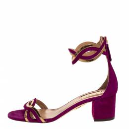 Aquazzura Purple Suede Leather Moon Ray Ankle Cuff Sandals Size 37.5 315911