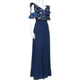 Self-Portrait Navy Blue Satin & Crepe Star Embellished Maxi Dress S 318316