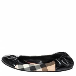 Burberry Black Patent Leather And Nova Check Canvas Scrunch Ballet Flats Size 38 317856