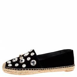 Tory Burch Black Velvet Crystal Embellished Vail Espadrille Flat Size 38 317457