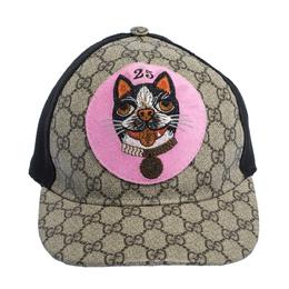 Gucci Beige GG Supreme Bosco Patch Detail Baseball Cap L 316921