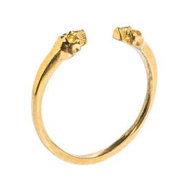 Alexander McQueen Skull Motif Gold Tone Open Cuff Bracelet 317023