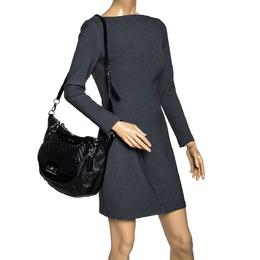 Coach Black Woven Leather Kristin Shoulder Bag 318335