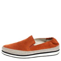 Prada Sport Orange Suede Espadrille Sneakers 37.5 318112