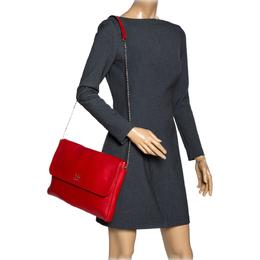 Carolina Herrera Red Leather Flap Shoulder Bag 318118