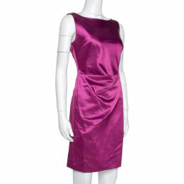 Ch Carolina Herrera Plum Satin Sleeveless Sheath Dress S 317168