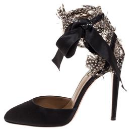Aquazzura Black Satin Feather Embellished Madison Ankle Tie Pumps Size 37 316786