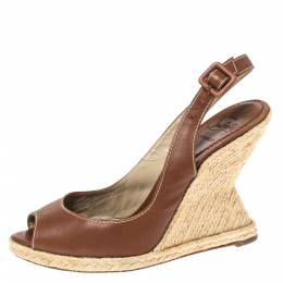Christian Louboutin Brown Leather You Love Slingback Espadrille Wedge Sandals Size 39 316784