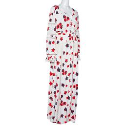 Self-Portrait White Floral Print Crepe Flared Maxi Dress L 315947