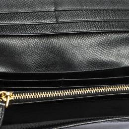 Prada Black Saffiano Leather Bow Continental Wallet 315943