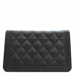 Chanel Black Caviar Leather Boy 2018 Wallet on Chain Bag 317953