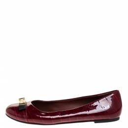 Marc By Marc Jacobs Red Croc Embossed Patent Leather Logo Ballet Flats Size 39 317221