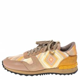 Valentino Multicolor Native Couture Leather And Suede Rockrunner Low Top Sneakers Size 37.5 316753