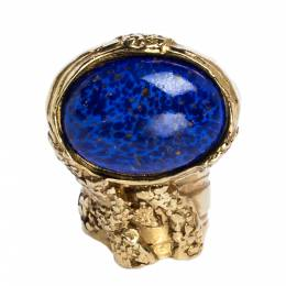 Yves Saint Laurent Arty Glass Cabochon Gold Tone Cocktail Ring Size 54.5 316685