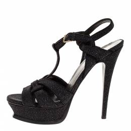 Yves Saint Laurent Black Glitter Suede Tribute Platform Ankle Strap Sandals Size 38.5 317105