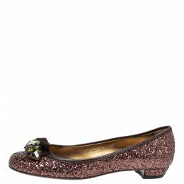Miu Miu Metallic Brown Coarse Glitter And Leather Crystal Embellished Bow Ballet Flats Size 37 315980
