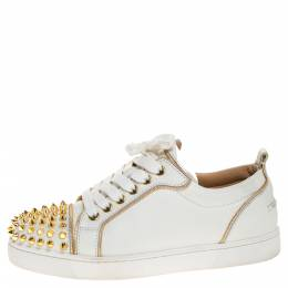 Christian Louboutin White/Gold Leather Louis Junior Spikes Sneakers Size 35 317805