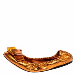 Burberry Metallic Orange Python Embossed Leather Surrey Ballet Flats Size 37 317772