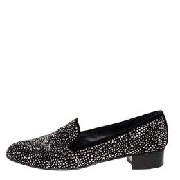 Stuart Weitzman Black Embellished Suede Leather Slip On Smoking Slippers Size 40 316281