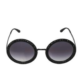 Dolce&Gabbana Black Crystal Studded/ Grey Gradient DG2170B Round Sunglasses 317377