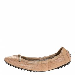 Tod's Beige Python And Leather Bow Scrunch Ballet Flats Size 38 316358