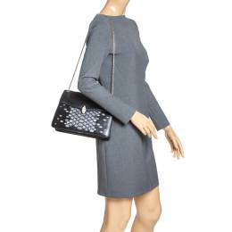 Bvlgari Black/Silver Leather Serpenti Forever Shoulder Bag 316427